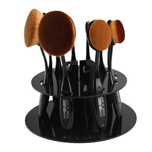 Oval Lower Shelf (AutumnFall 10 Hole Oval Makeup Brush Holder Drying Rack Organizer Cosmetic Shelf Tool (Black))