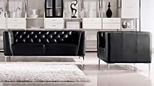 Black Tux Leather Sofa Set With Two Chairs