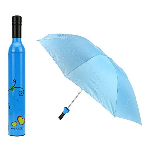 Fakeface Novelty Womens Mens Wine Vase Shaped Bottle Three Folding Umbrella Anti-UV Sun Shade Rain Compact Collapsible Portable Travel Umbrella