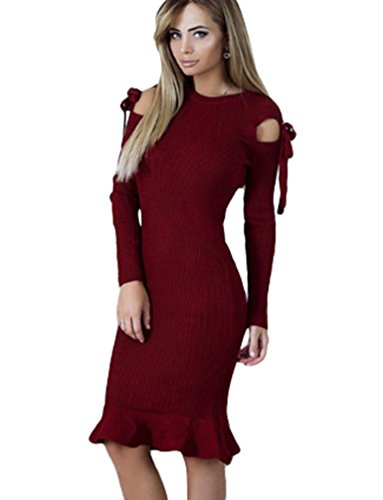 Baymate Damen Langarm Abendkleid Elegant Cocktailkleid Vintag Kleider Knielang Slim Fit Party Kleid Weinrot jnrXVa