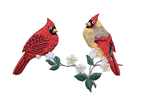 Cardinal Patch - Cardinal Couple on Branch - Birds - Iron on Applique Embroidered Patch