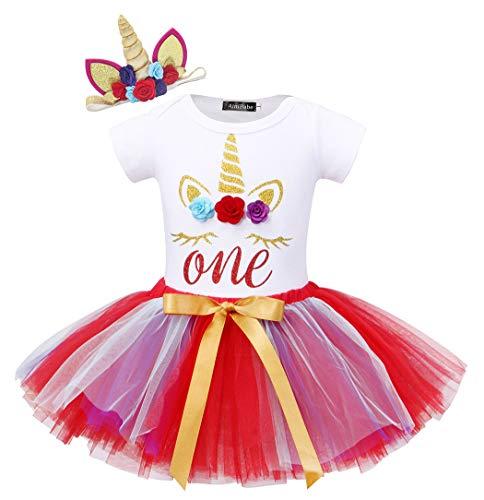 HenzWorld Unicorn Costume Dress Romper Tutu Skirt Headband 1st Birthday Party Halloween Toddlers -