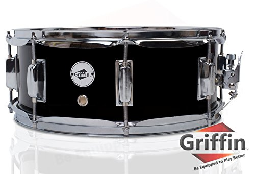 Griffin Snare Drum | Poplar Wood Shell 14' x 5.5' with Black PVC Glossy Finish|Percussion Musical Instrument with Drummers Key for Students & Professionals|8 Tuning Lugs & Snare Strainer