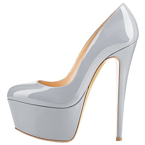 Women 7 Size High Round Dress Shoes Heels Stiletto Grey Pumps Platform Toe qrPZfwg1q