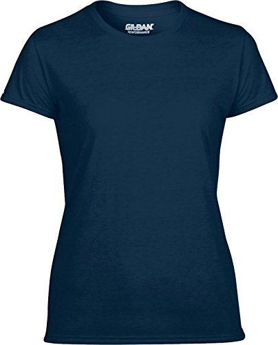 Gildan camiseta de rendimiento para mujer camiseta de manga corta para cuello redondo ropa Top azul marino