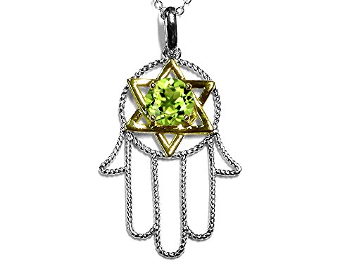 (Star K Large Hamsa Hand Jewish Star of David Pendant Necklace with Genuine Peridot 10 kt Two Tone Gold)