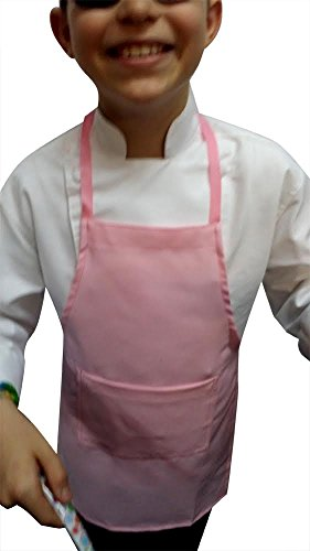 CHEFSKIN Set 1 Kids Children Apron Pink +Chef Hat White