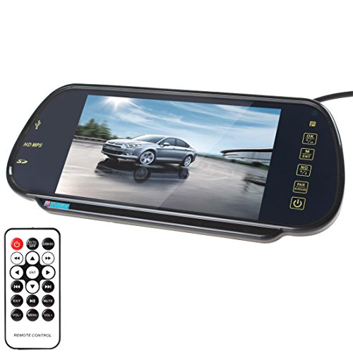 SallyBest® 7 Inch 16:9 HD USB Bluetooth MP5 FM SD TFT LCD Color Screen Car Vehicle Rear View Mirror Monitor Support 2 Video and Audio Input for Car Camera/DVD/VCD/STB/Satellite Receiver