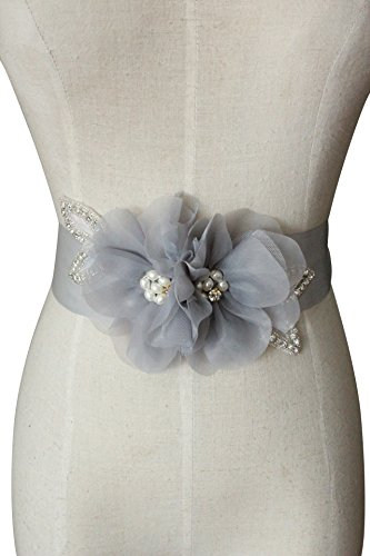 crystals and two organza flowers with special design pearls wedding sashs dress belts A19a (Silver)