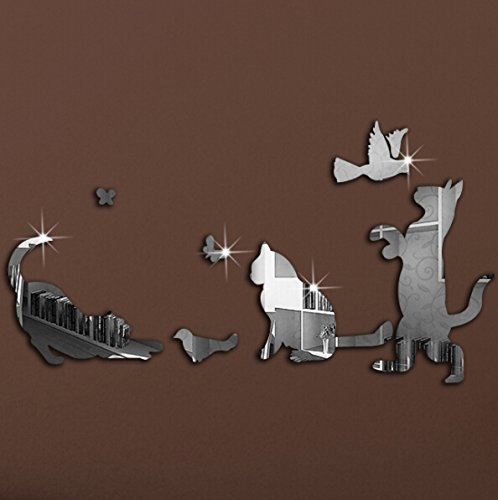 Alrens(TM)Silver 7Pcs Lovely Cat Birds Butterfly Patterns Mirror Effect Decals DIY 3D Acrylic Mirror Wall Sticker Children Room Bedroom Kindergarten Mural Decor Gift for Kids