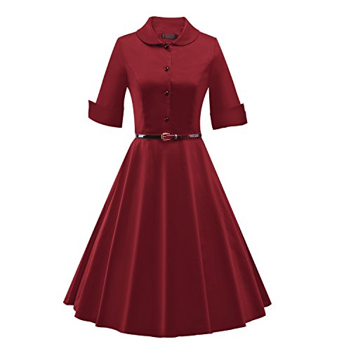60s Audrey BFY Women's Summer Dress Half Burgundy Collar Stand Hepburn 50s Sleeve Vintage BrYtYqAxw