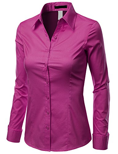Doublju Slim Fit Cotton Blend Button Down Collared Shirt for Women with Plus Size Fuchsia Medium