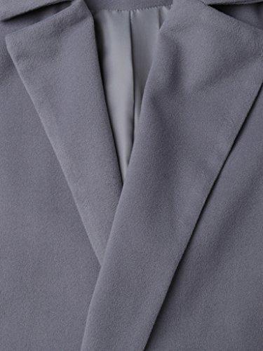 CR Women's Gray Lapel Wool Blend Long Trench Coat Jacket