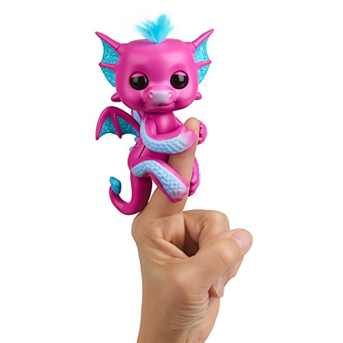 - Fingerlings - Glitter Dragon - Sandy (Pink with Blue) - Interactive Baby Collectible Pet - By WowWee