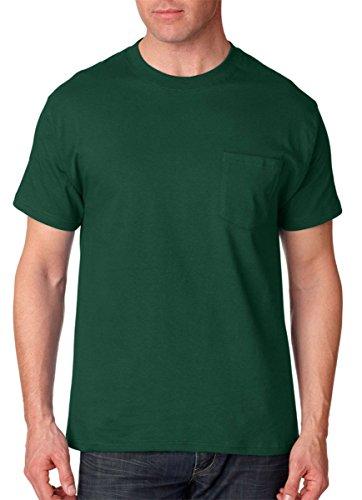 Hanes Short Sleeve Beefy Pocket T-Shirt - 5190, Forest Green, XL US (Chest 46-48) - 2004 Green T-shirt