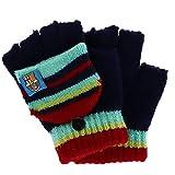 Foemo Kids 5-8 Knit Convertible Winter Mitten Gloves, Burgundy