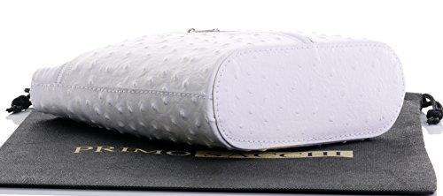 sac sac finition ou d'autruche blanc petite fait rangement main corps Effet main marque un nbsp;Comprend en protecteur Croix de cuir lisse Autruche à italien ou U8fnFxWqF