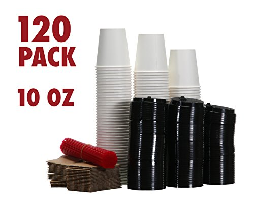120 Paper Coffee Hot Cups with Lids, Stirrers, Sleeves, Disposable Travel Cups - 8oz 10oz 12oz or 16 ounces - Great for Office, Car, Hot Beverage To Go Cup Mug, White Paper Cup (Black Lids, 10 Ounces)