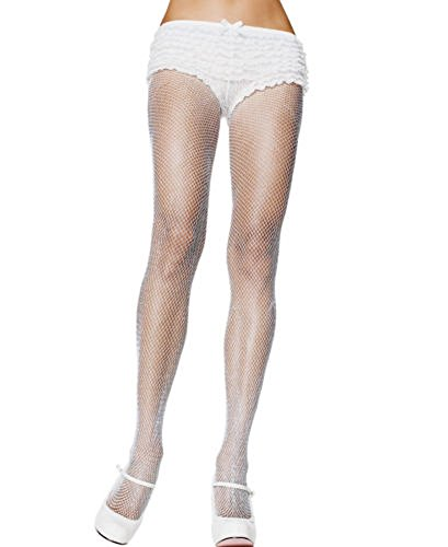 One Size Stretch Fishnet Pantyhose (One Size, White) (Shirley Stretch Bodystocking Hollywood)