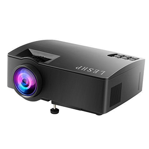 LESHP A8 Portable Projector 1500 Lumens LED Video Projector Support Multi-screen Interaction 1080P HD Via Phone Data Cable IOS Phone and Tablet with The Screen Image/Iphone,IPad Same Screen Image
