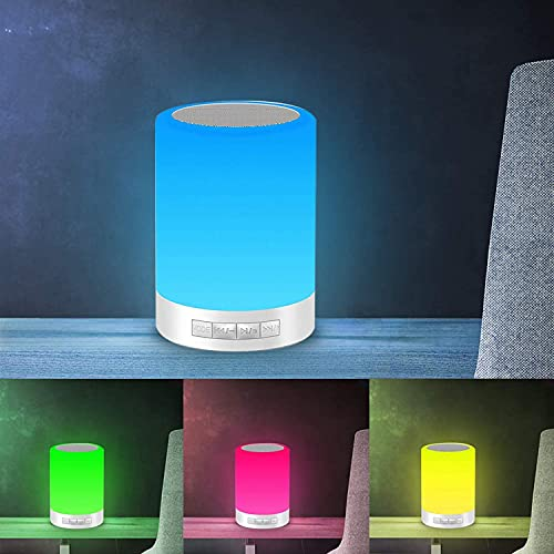 Aisuo Touch Bedside Lamp with Bluetooth Speaker, Dimmable Night Light, 16 million Gradient Colors, Gifts for Women
