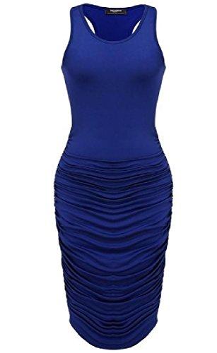 Semplice Tendenza Scuro Aderente Maniche Donne Mini Delle Shirring Vestito Blu Lato Comodi wUqw1rH