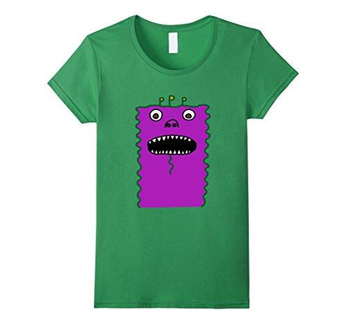 Womens Silly funny scary hungry monster halloween t shirt costume Medium Grass