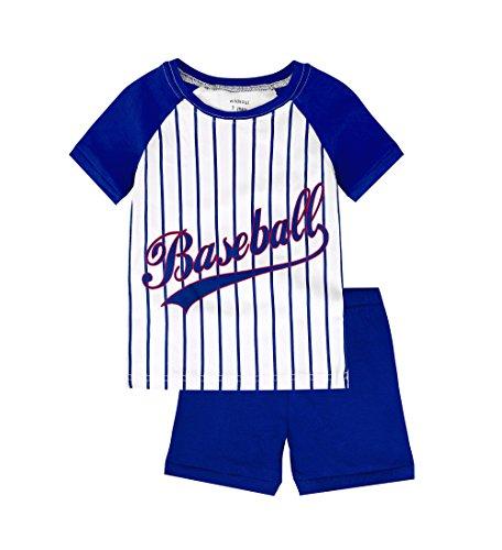Boys Pajamas 100% Cotton Baseball Short Toddler PJS Sets For Kids Size 3T