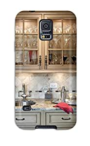 Fashionable Style Case Cover Skin For Galaxy S5- Contemporary Wet Bar Separating Dining Room And Kitchen