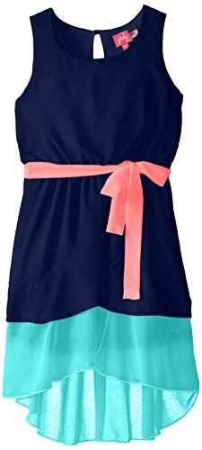 Zunie Big Girls' Color-Block Dress with Contrast Sash