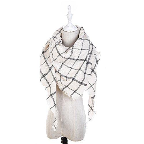 Mazdom Stylish Fall Winter Scarf Large Thick Wrap Cotton Oversized Scarf Women Tartan Plaid Blanket Scarf Cape Tassels