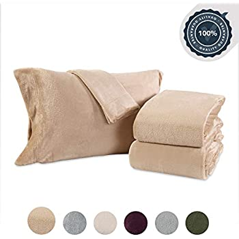 Berkshire Blanket VelvetLoft Plush Set Sheets, Queen, Flaxseed