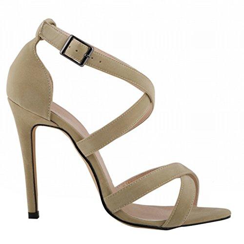 Schuhe Verband Stilettos Open Frauen Sommer Khaki Crossing Toe Heels Knöchelriemen Wotefusi Sandalen High 8qTSx