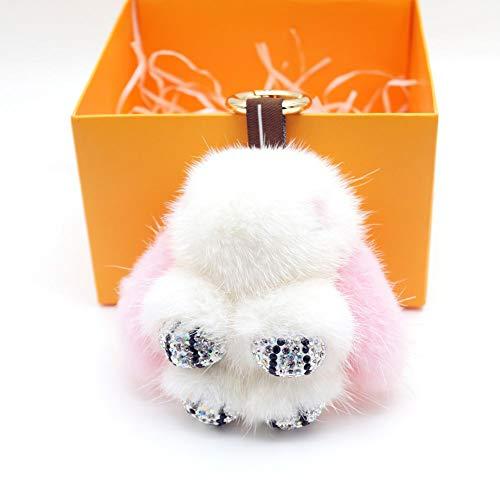 DELORESDKX Mink Fur Keychains, Women Fluffy Panda Bunny Key Chains Bag Charm Keyring for Handbags Car Decoration (Pink)