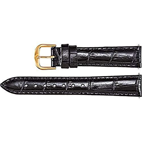 Ladies 18 mm Regular Black Leather Alligator Grain Padded Watch ()