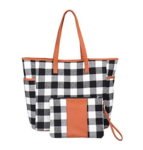 KraftyChix Women 2ps Buffalo Plaid/Tan Leopard Tote and Wristlet Set Personalized Tote Bag Handbag,Shoulder Bag for Women