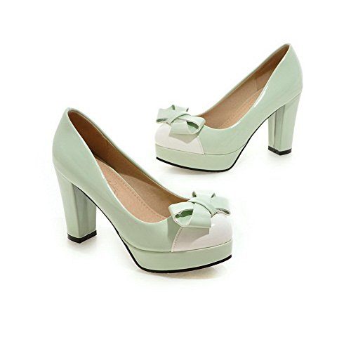 Pumps Color Thick Shoes Ladies Heel Bottom Leather Matching Spun Bowknot Imitated Green BalaMasa Gold qPatwRw