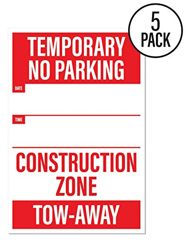 Temporary No Parking Sign | Large Notices for Construction Sites (Pack of 5) by Sutter Signs (Signs Temporary Construction)