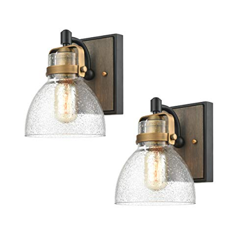 WILDSOUL 40061BK-2 Modern Farmhouse 1-Light Wall Sconce Fixture, LED Compatible Rustic Vintage Oak Wood Glass Bathroom Vanity Light, Matte Black and Antique Brass with Seeded Glass, Pack of 2