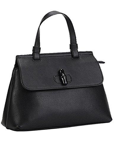 Menschwear Womens Genuine Leather Top Handle Satchel Bag Black by Menschwear