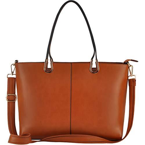 Laptop Tote Bag,15.6 Inch Business Laptop Bag,Large Tote Bag Handmade Metal Handle,Brown