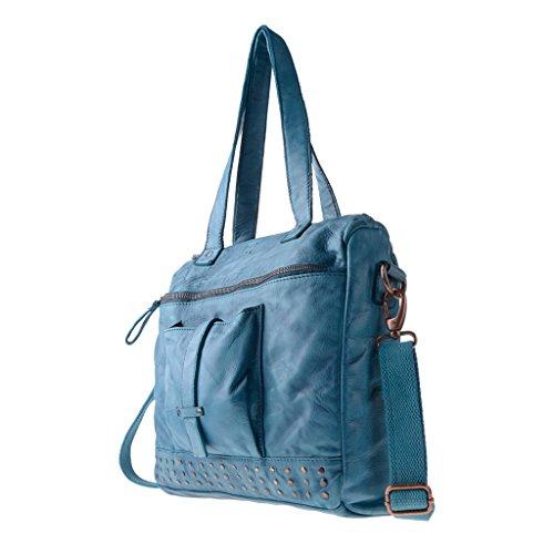 Borsa donna in pelle lavata a tracolla con borchie e manici DUDU Agata Blue