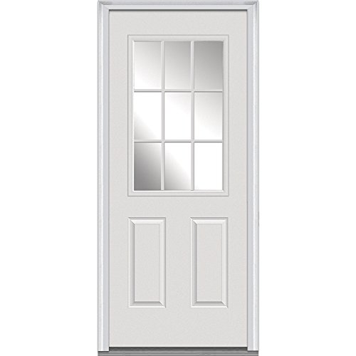 National Door Company Z000329L Fiberglass Smooth Primed, Left Hand In-swing, Prehung Front Door, 9 Lite 2-Panel, Clear Low-E Glass, 32