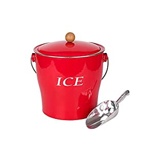 Hot Sale T686 Vintage Red 4L Metal Double Walled Ice Bucket Set/Home Kitchen Gifts With Lid/wooden Handle And Scoop