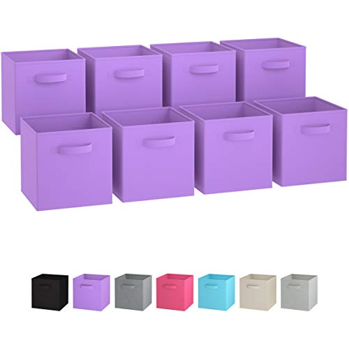 (Royexe Storage Bins - Set of 8 - Storage Cubes | Foldable Fabric Cube Baskets Features Dual Handles. Cube Storage Bins. Closet Shelf Organizer | Collapsible Nursery Drawer Organizers (Purple))