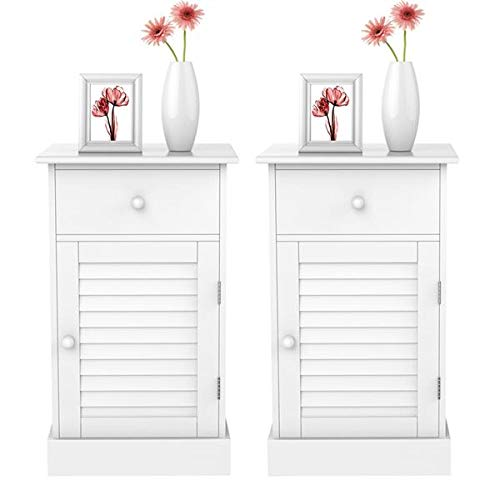 go2buy Bedside Table Cabinets Nightstands with Storage Drawer and Cupboard Units Adjustable Height Shelf in White Set of 2 ()