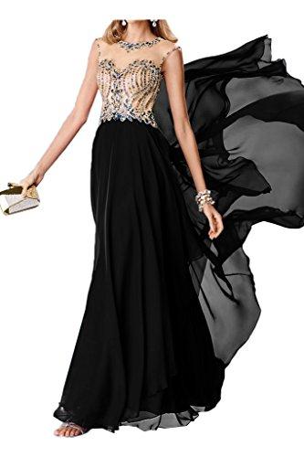 Abendkleid Partykleid Schwarz Steine Chiffon Rueckenfrei Ivydressing Damen Rundkragen Promkleid Festkleid Modisch Fzxw6a4nwR