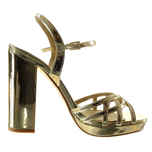 Angkorly - Zapatillas de Moda Sandalias zapatillas de plataforma mujer tanga multi-correa Hebilla Talón Tacón ancho alto 12 CM - Oro