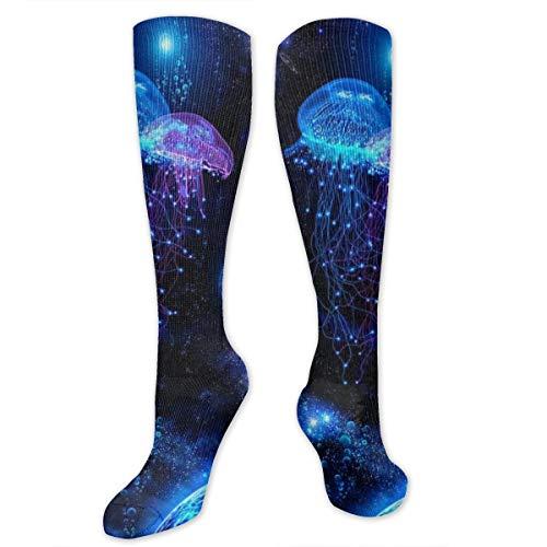 Black Cosmic Socks - Unisex 3D Socks Cosmic Galaxy Under Sea Ocean Jellyfish Adult One Size Crazy Tube Funny Socks