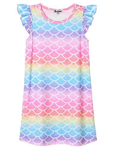 Rainbow Mermaid Nightgown for Girls 8 9 Nightdress Summer Sleep Dresses Cotton